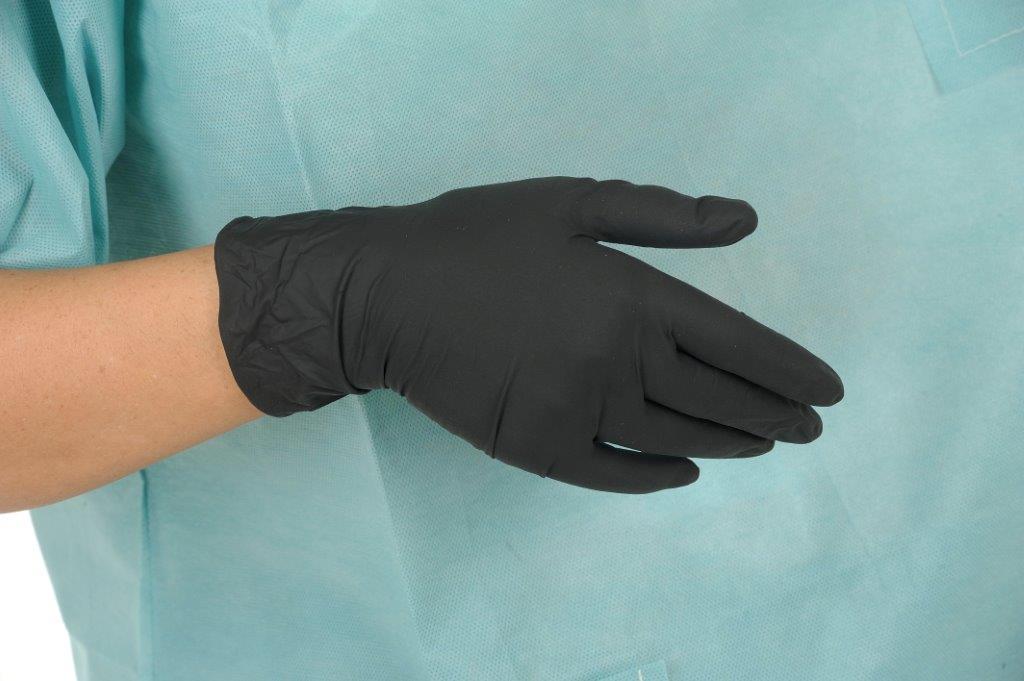 Gants de Coiffure en latex noir non poudrés, Gants-médicaux.