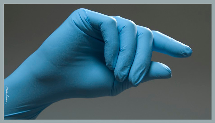 Gant nitrile bleu parmadis pour pedicure