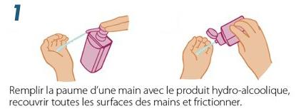 Désinfection des Mains avec du Gel hydroalcoolique - Etape 1
