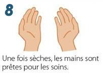 Se désinfecter les mains avec du Gel hydroalcoolique - Etape 8